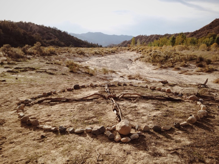The Medicine Wheel we created the first day we were all together on the land.. right below an ancient piñon tree