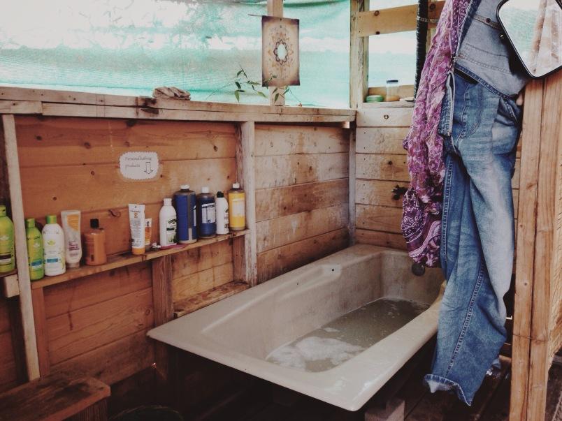 The wood fired bath!
